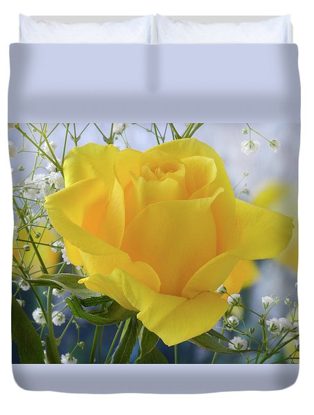 Gypsophila And The Rose. Duvet Cover by Terence Davis