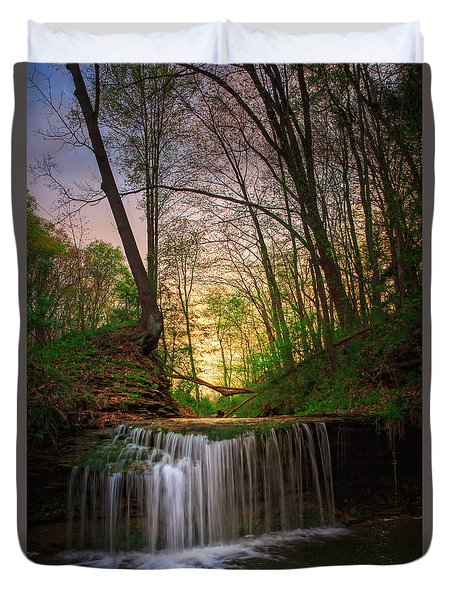 Gypsy Glen  Rd Waterfall  Duvet Cover by Emmanuel Panagiotakis