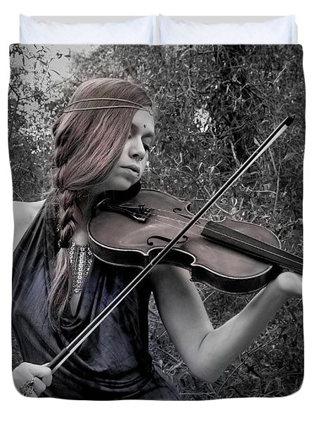Duvet Cover featuring the photograph Gypsy Player II by Ron Cline