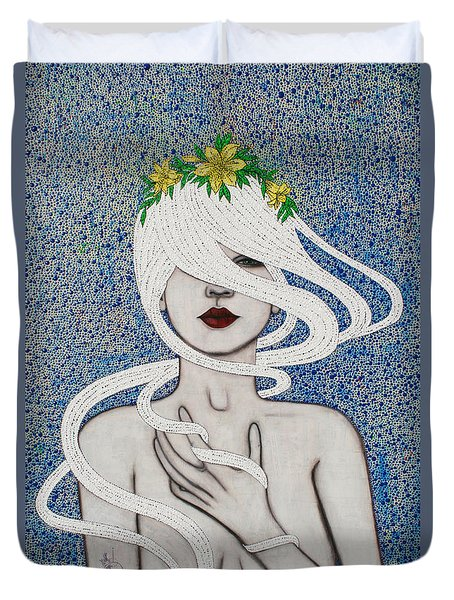 Duvet Cover featuring the mixed media Gypsy Soul by Natalie Briney
