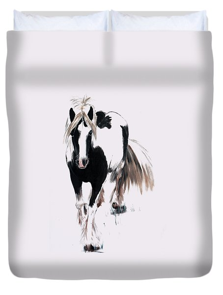 Duvet Cover featuring the painting Gypsy Vanner by Isabella F Abbie Shores FRSA