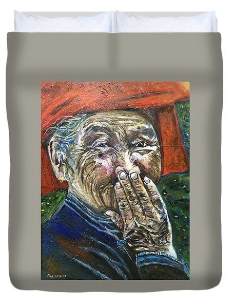 Duvet Cover featuring the painting H A P P Y by Belinda Low