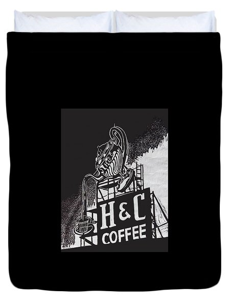 H And C Coffee Sign Duvet Cover