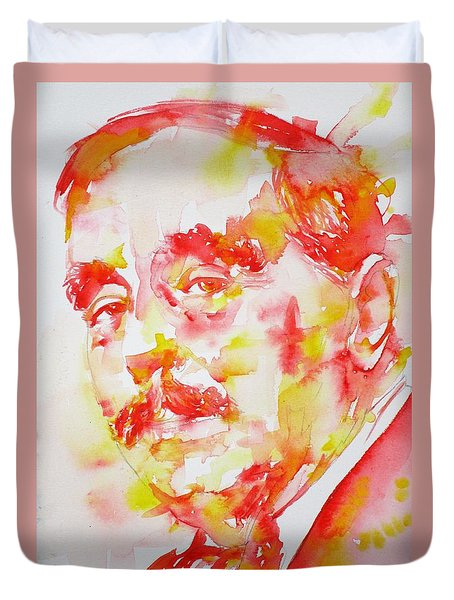 Duvet Cover featuring the painting H. G. Wells - Watercolor Portrait by Fabrizio Cassetta