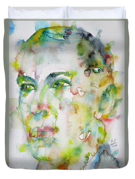 H. P. Lovecraft - Watercolor Portrait.5 Duvet Cover by Fabrizio Cassetta