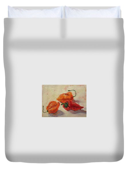 Habaneros And A Red Chile Duvet Cover by Jill Musser