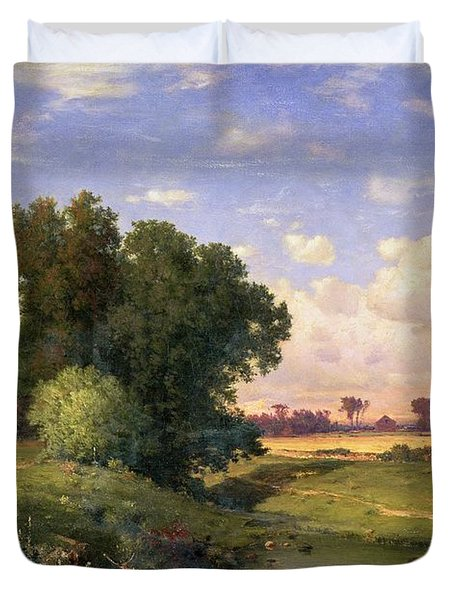 Hackensack Meadows - Sunset Duvet Cover by George Snr Inness