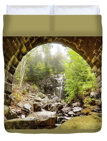Duvet Cover featuring the photograph Hadlock Falls Under Carriage Road Arch by Jeff Folger