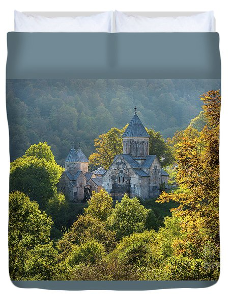 Haghartsin Monastery With Trees In Front At Autumn, Armenia Duvet Cover by Gurgen Bakhshetsyan