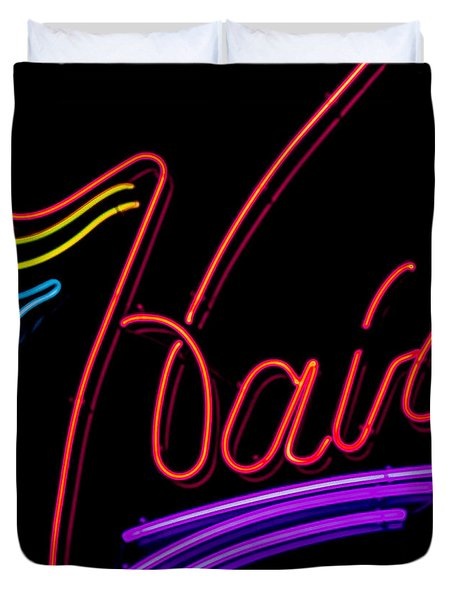 Hair In Neon Duvet Cover