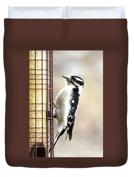 Hairy Woodpecker Duvet Cover