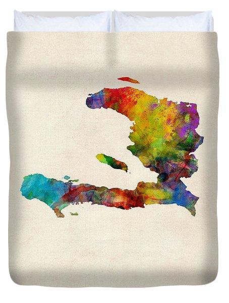 Haiti Watercolor Map Duvet Cover