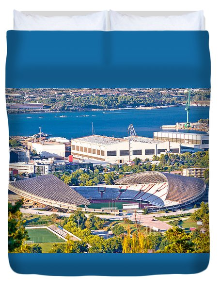 Hajduk Split Poljud Stadium Aerial View Duvet Cover by Brch Photography