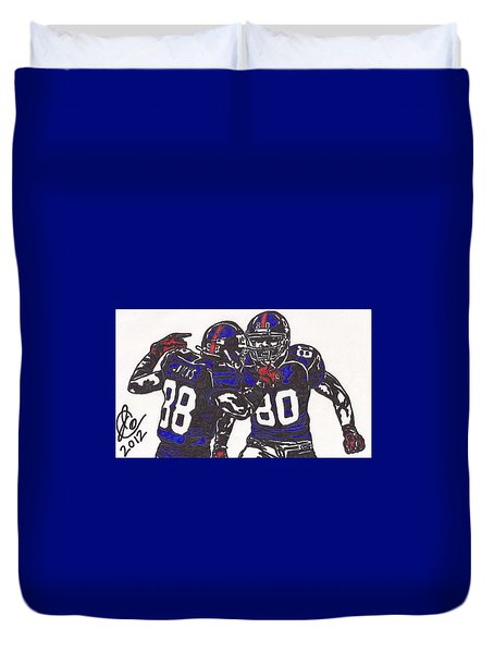Duvet Cover featuring the drawing Hakeem Nicks And Victor Cruz by Jeremiah Colley