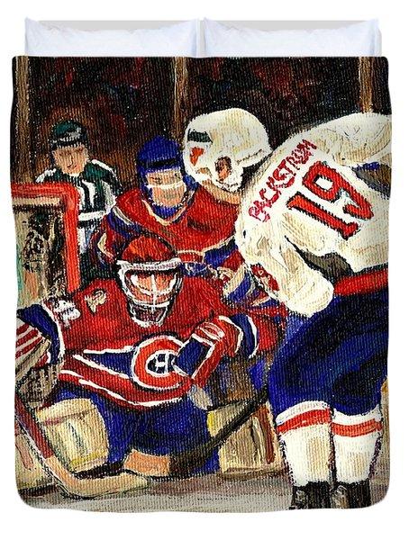 Halak Blocks Backstrom In Stanley Cup Playoffs 2010 Duvet Cover by Carole Spandau