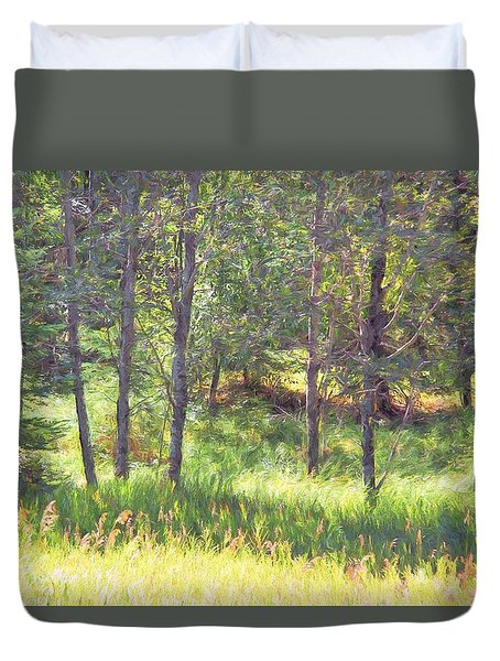 Duvet Cover featuring the photograph Halcyon Days by Kathy Bassett