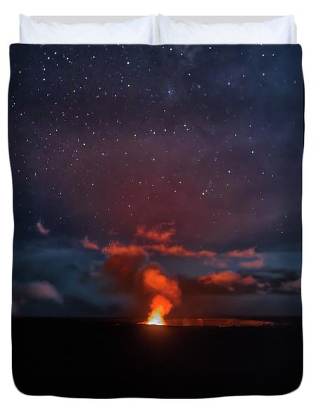 Halemaumau Crater At Night Duvet Cover