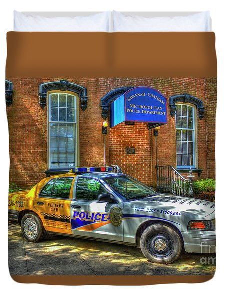 Duvet Cover featuring the photograph Half And Half What Is It Manna Savannah Georgia Police Art by Reid Callaway