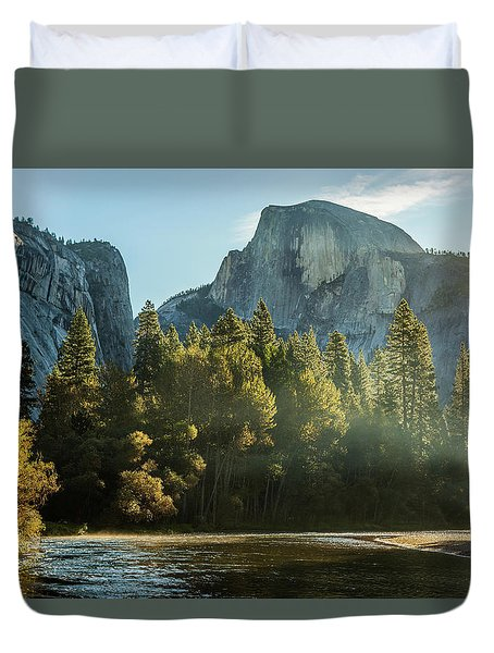 Half Dome And Merced River Autumn Sunrise Duvet Cover