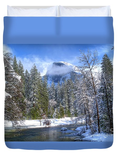 Half Dome And The Merced River Duvet Cover by Bill Gallagher