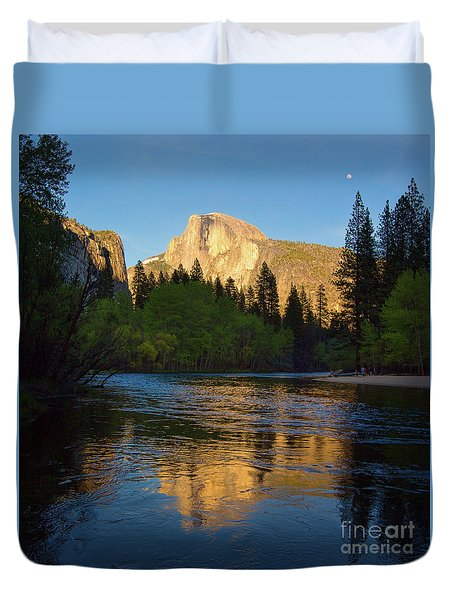 Half Dome And The Merced River With The Moon Duvet Cover