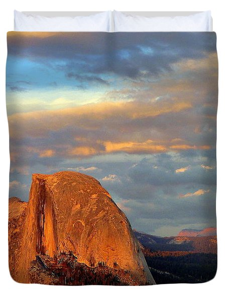 Half Dome Sunset Colorful Clouds Vertical Duvet Cover