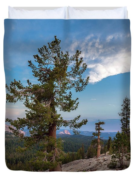 Half Dome Through The Trees Duvet Cover by Sharon Seaward