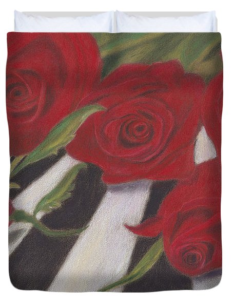 Duvet Cover featuring the painting Half Dozen Red by Arlene Crafton