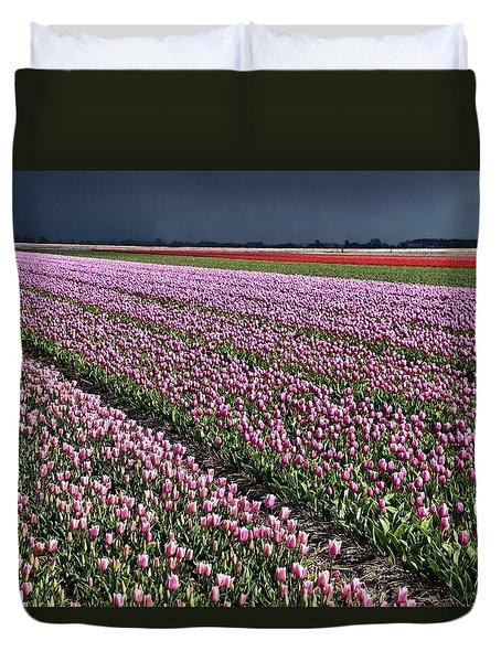 Half Side Purple Tulip Field Duvet Cover by Mihaela Pater