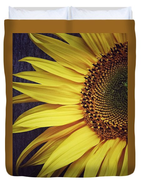 Duvet Cover featuring the photograph Half Yellow by Karen Stahlros
