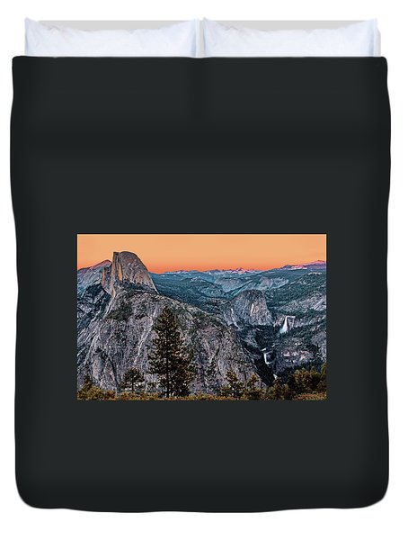 Halfdome And The Waterfalls At Sunset Duvet Cover