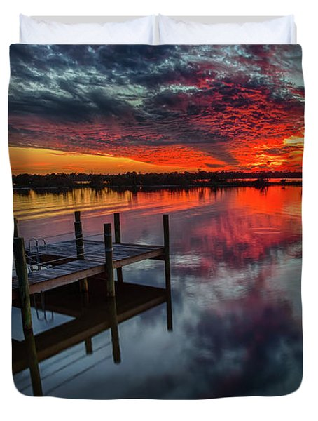 Halifax River Sunset Duvet Cover