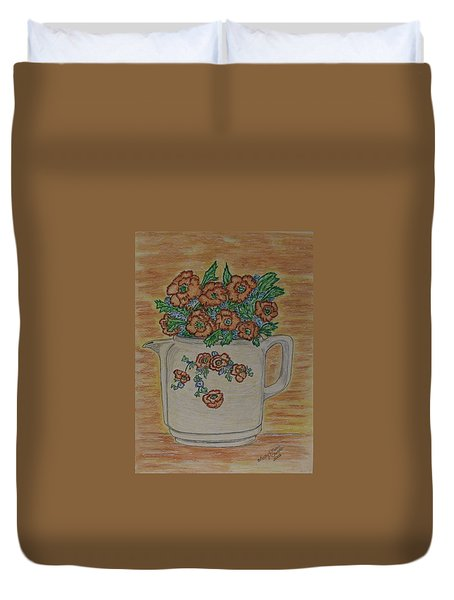 Duvet Cover featuring the painting Hall China Orange Poppy And Poppies by Kathy Marrs Chandler