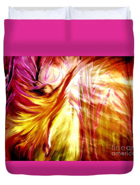 Duvet Cover featuring the painting Hallelujah by Pam  Herrick