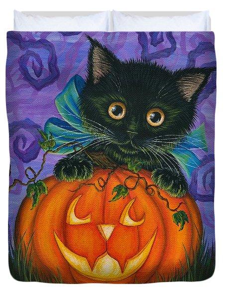 Halloween Black Kitty - Cat And Jackolantern Duvet Cover