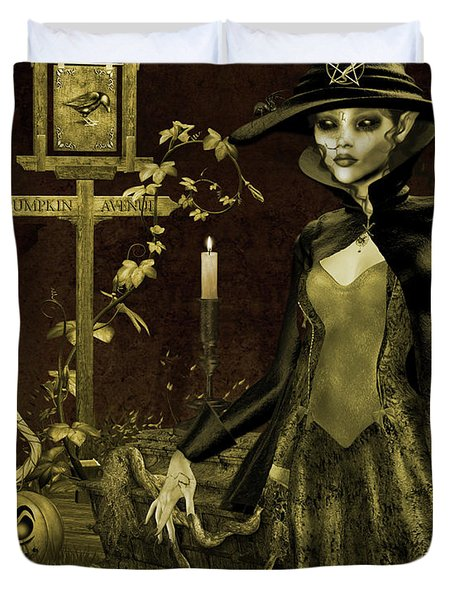 Halloween Graveyard-c Duvet Cover