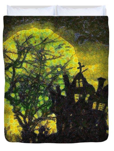 Halloween Haunted House Duvet Cover