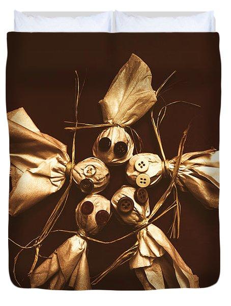 Halloween Horror Dolls On Dark Background Duvet Cover