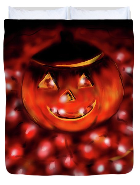 Duvet Cover featuring the painting Halloween Lights by Jean Pacheco Ravinski
