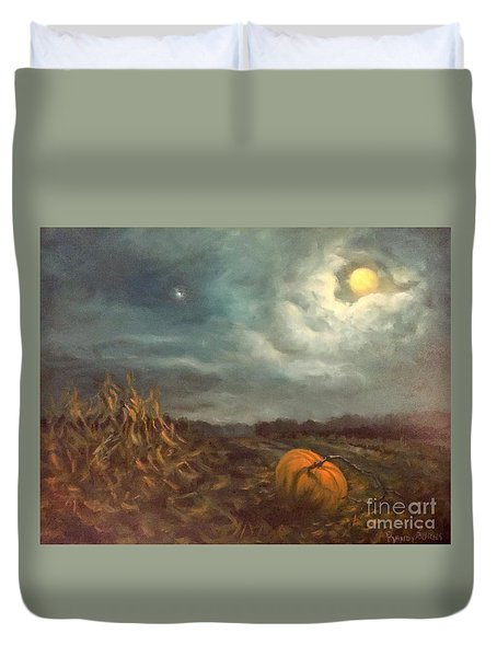 Halloween Mystery Under A Star And The Moon Duvet Cover
