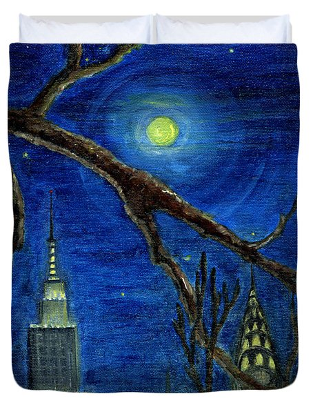 Halloween Night Over New York City Duvet Cover by Anna Folkartanna Maciejewska-Dyba