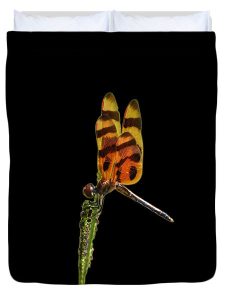 Duvet Cover featuring the photograph Halloween Pennant Dragonfly .png by Al Powell Photography USA
