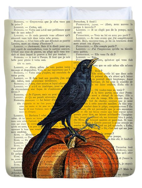 Halloween Pumpkin And Crow Decoration Duvet Cover
