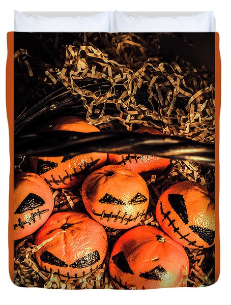 Halloween Pumpkin Head Gathering Duvet Cover by Jorgo Photography - Wall Art Gallery