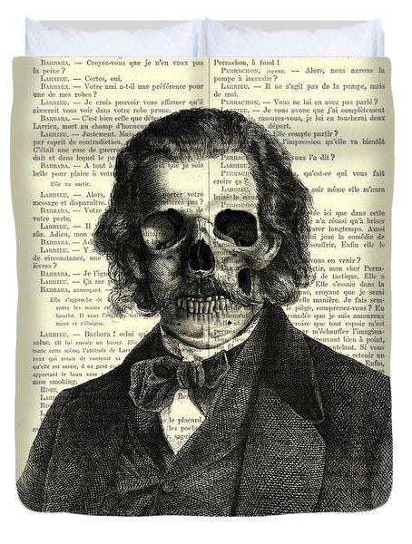 Halloween Skull Portrait In Black And White Duvet Cover