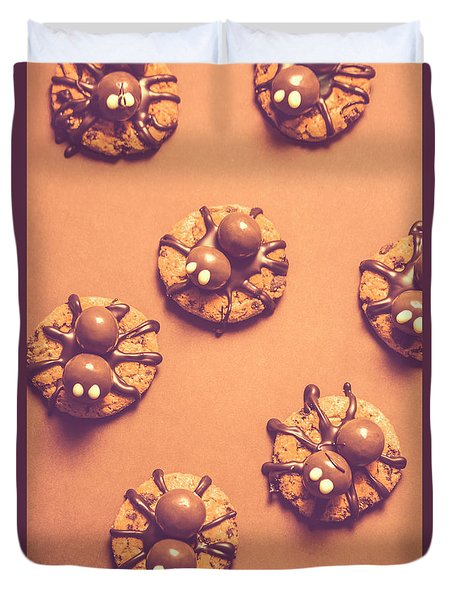 Halloween Spider Cookies On Brown Background Duvet Cover