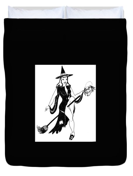 Halloween Witch  Duvet Cover by Beverly Solomon Design