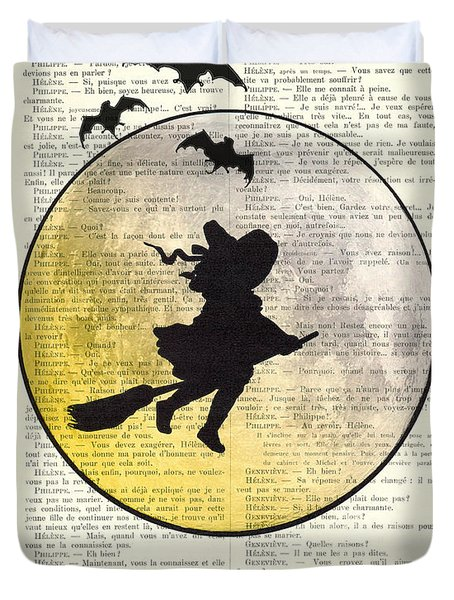 Witch Flying With Full Moon Duvet Cover