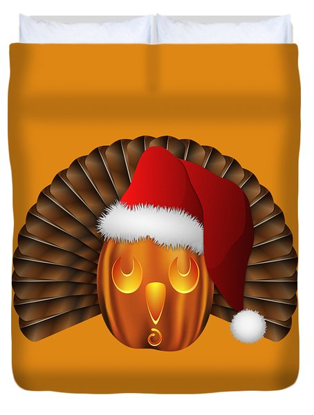 Hallowgivingmas Santa Turkey Pumpkin Duvet Cover