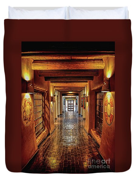 Duvet Cover featuring the photograph Halls Of Loretto by Gina Savage